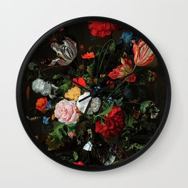 Still Life With Flowers By Jan Davidsz. de Heem Wall Clock