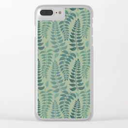 Leaf Fronds in Teals on Sage Green Clear iPhone Case