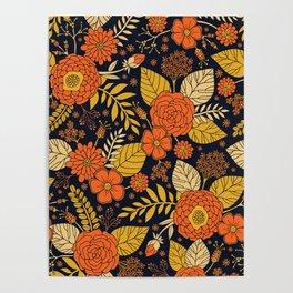 Retro Orange, Yellow, Brown, & Navy Floral Pattern Poster
