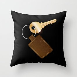 Leather Key Fob With Key Throw Pillow