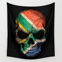 south africa Wall Tapestries featuring Dark Skull with Flag of South Africa by Jeff Bartels