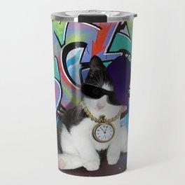 Cat Attitude.....Kitten and Graffiti Wall Travel Mug