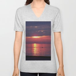 Holes in the Clouds, sunset on the water Unisex V-Neck