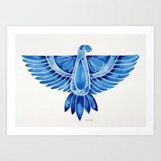 Navy Parrot Art Print