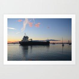 Ship Beaumare At Dusk Art Print