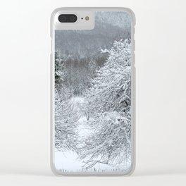 Vermont Winter Habitat in Snow Clear iPhone Case