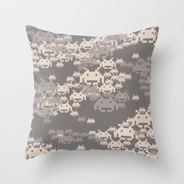Space Invader Camo Throw Pillow