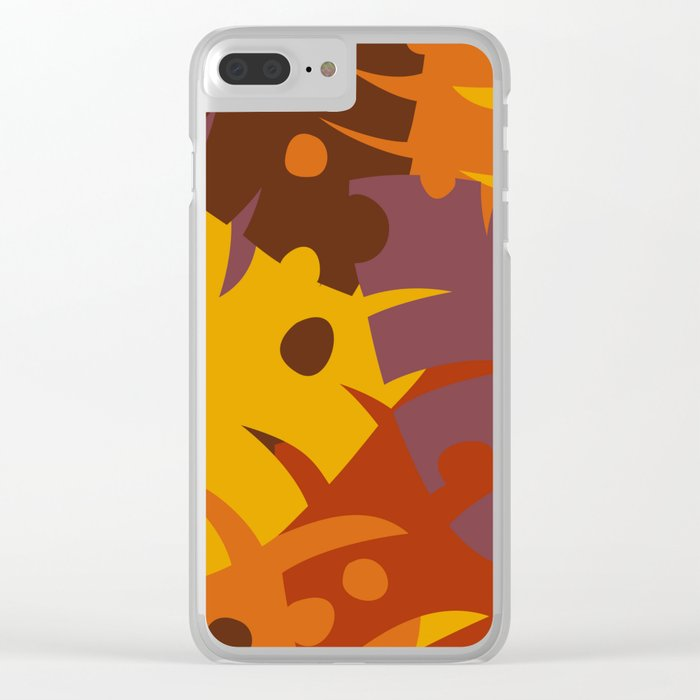 Colorful Graphic Autumn Leaves Clear iPhone Case