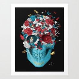 Skull Hope Black Art Print