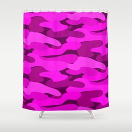 Outrageous Neon Hot Pink Camo Pattern Shower Curtain