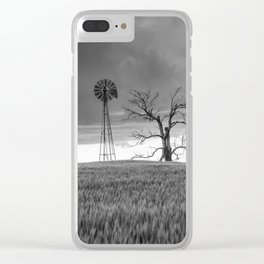 Blowing in the Wind - Black and White Windmill and Dead Tree with Storm in Oklahoma Clear iPhone Case