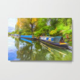 Narrow Boat Touch Of Art Metal Print