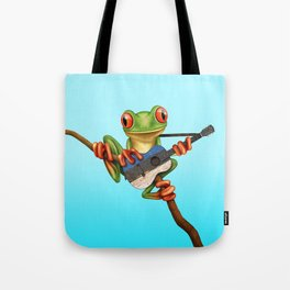 Tree Frog Playing Acoustic Guitar with Flag of Estonia Tote Bag