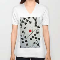 poker V-neck T-shirts featuring Poker by Jackie
