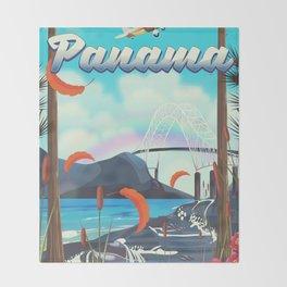 Panama flight travel poster. Throw Blanket
