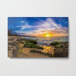 Photo Hawaii USA Sun Ocean Nature Sky sunrise and sunset landscape photography Moss Coast Stones Scenery Sunrises and sunsets stone Metal Print