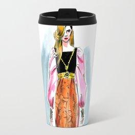 fashion #5. girl in a long dress with a pattern of cherubs Travel Mug