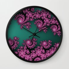 Fractal in Dark Pink and Green Wall Clock