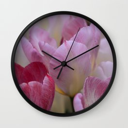 White And PinkTulip Flowers Wall Clock