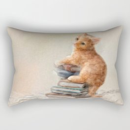 Cute cat standing on stack of books. Oil painting. Rectangular Pillow