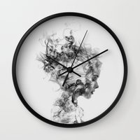 girl Wall Clocks featuring Dissolve Me by Daniel Taylor