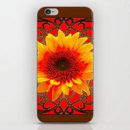 Coffee Brown & Red Yellow Sunflower Filigree Art iPhone Skin