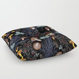 dark wild forest mushrooms Floor Pillow