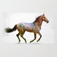 horse Area & Throw Rugs featuring horse by ron ashkenazi