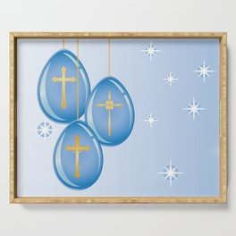 Shiny blue hanging eggs decorated with gold crosses Serving Tray
