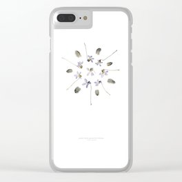 wildflower mandala... purple violets, guinea fowl feathers Clear iPhone Case