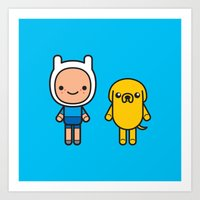 finn and jake Art Prints featuring #48 Jake and Finn by Brownjames Prints