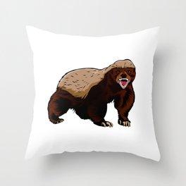 Honey badger illustration Throw Pillow