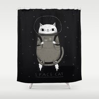 cat coquillette Shower Curtains featuring space cat by Louis Roskosch