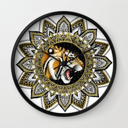 Black and Gold Roaring Tiger Mandala Wall Clock