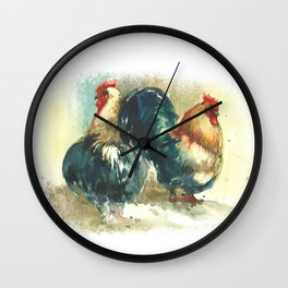 Two cocks, roosters in watercolor. Symbol of 2017 New Year! Wall Clock