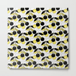 Black and yellow pattern . Cherry . Metal Print