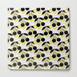 Black and yellow pattern . Cherry . Metal Print