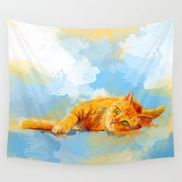 Cat Dream - orange tabby cat painting Wall Tapestry