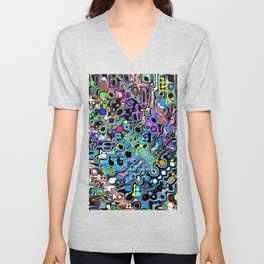 Colorful Chaotic Shapes Unisex V-Neck