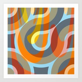 Nouveau Retro Graphic Brown Orange and Blue Art Print