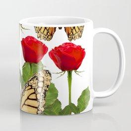 RED ROSES  & MONARCH BUTTERFLIES ART Coffee Mug