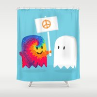 hippie Shower Curtains featuring Hippie ghost by Picomodi