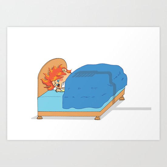 Kid in Bed Art Print