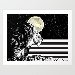 Lion in Space Art Print