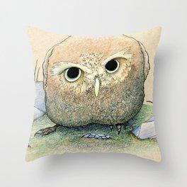 Scowling Owl Throw Pillow