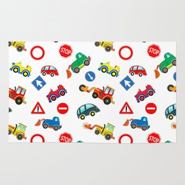 Kid cars, car and machine, tractor Rug