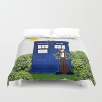 police Duvet Covers featuring Police Box by Bohemian Bear by Kristi Duggins