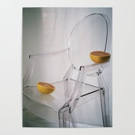 Grapefruit Chillin on an Acrylic Chair Poster