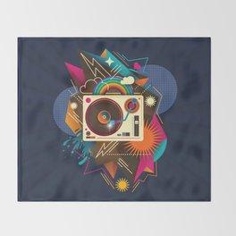Goodtime Party Music Retro Rainbow Turntable Graphic Throw Blanket