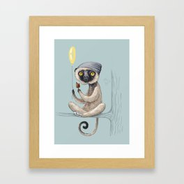 Sifaka with ice cream Framed Art Print